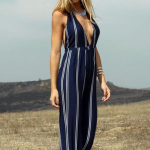Oliviaceous Black &White jumpsuit with tie waist